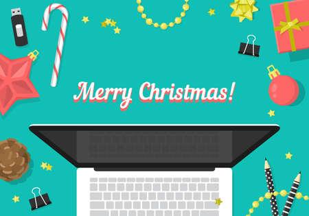 website header: Christmas website header design with laptop and decorations. Vector illustration Illustration