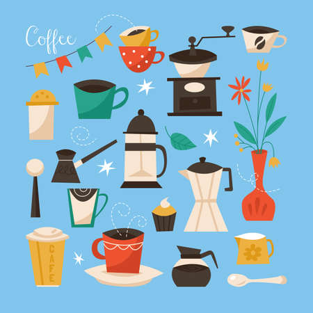 aplication: Coffee poster design. Creative vector illustration with coffee cups, grinder and objects Illustration