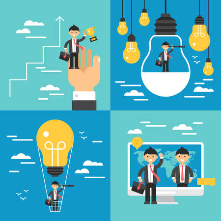 Business concept set. Search of opportunities, leadership, growth and innovation businees concept