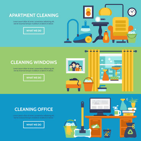 website window: Cleaning services website banner design. Apartment, office and window cleaning icons. Vector illustration