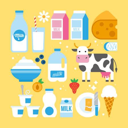 Latte e prodotti lattiero-caseari icone fro web e graphic design. Latte, formaggio, yogurt, burro, mucca e frutta icone.