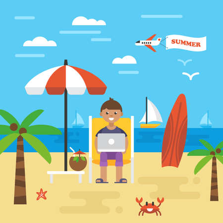 vacation with laptop: Summer holiday vacation with freelancer working on beach. Icons and elements for graphics, website and infographics design. Vector illustration