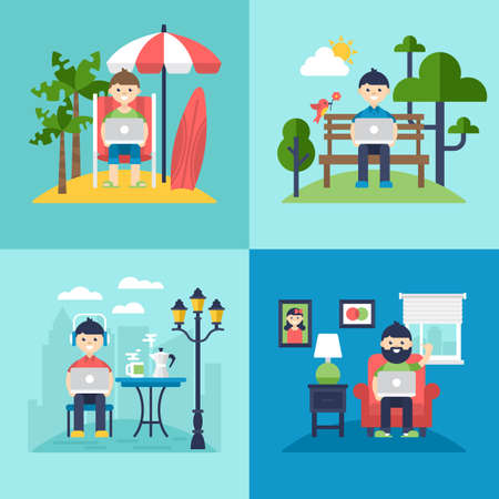 Freelancer concept. Working on the beach, in coffee shop, in the park and at home. Isolated vector illustration Illustration
