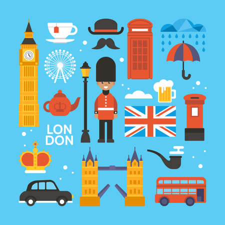 London, Great Britain flat elements for web graphics and design. Isolated vector illustration Illustration