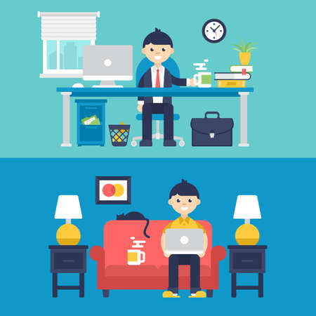 Freelancer at home and full-time employer in office concept design. Isolated vector illustration