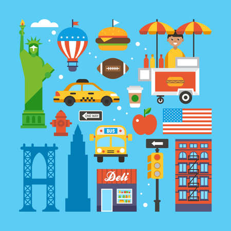 New York, USA flat elements for web graphics and design. Isolated vector illustration Stock Illustratie