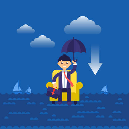Business concept flat modern design for businessman in armchair lost in sea.  Isolated vector illustration Illustration
