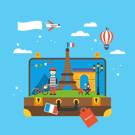 Travel to Paris, France concept with landmark icons inside suitcase. Flat elements for web graphics and design. Isolated vector illustration Illustration