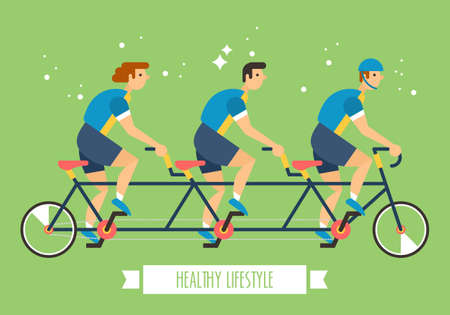Bicycle team on multi seat bicycle. Team activity sport concept for graphic and web design Illustration
