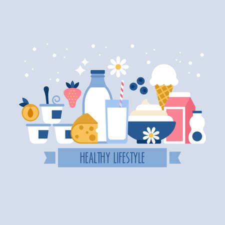 dairy products: Healthy lifestyle concept with milk and dairy products icons