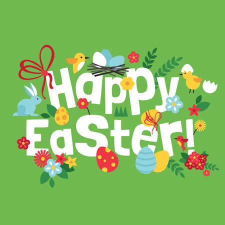 pascuas navideÑas: Easter holiday lettering design. Vector illustration