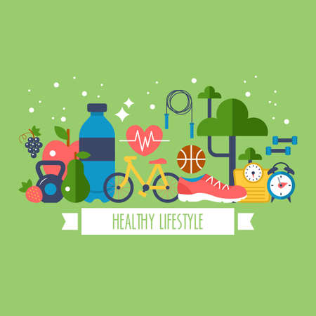 Healthy lifestyle concept with food and sport icons 일러스트