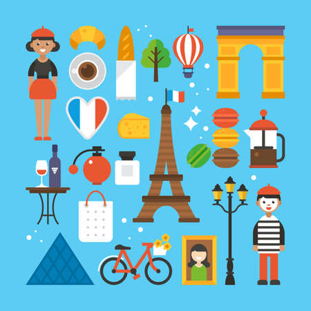 Paris, France flat elements for web graphics and design. Isolated vector illustration Illustration