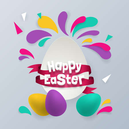 Easter holiday background design with eggs and color splash. Vector illustration Illustration