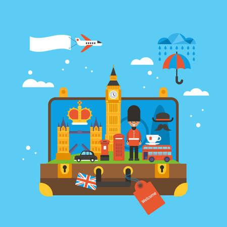 kindom: Travel to London, Great Britain concept with landmark icons inside suitcase. Flat elements for web graphics and design. Isolated vector illustration