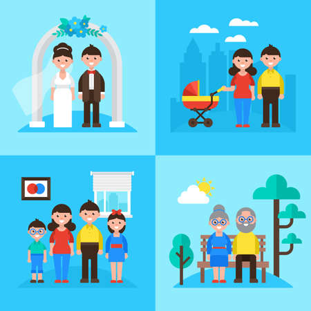 planificacion familiar: Family planning concept, marriage, young parents, kids and seniors. Vector illustration