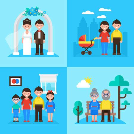 planificacion familiar: Planificación familiar concepto, el matrimonio, los padres jóvenes, niños y personas mayores. ilustración vectorial
