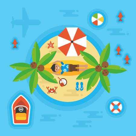 desert island: Summer holiday vacation concept with man on desert island. Overhead view. Vector illustration