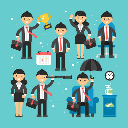 Businessman and businesswoman flat modern character icons for web and graphic design