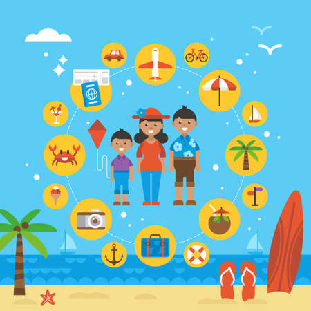 family holiday: Summer holiday family vacation. Icons and elements for graphics, website and infographics design. Vector illustration