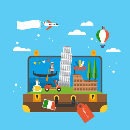 Travel to Italy concept with landmark icons inside suitcase. Flat elements for web graphics and design. Isolated vector illustration