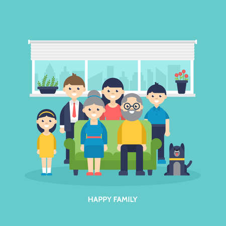 Happy family concept. Parents, kids and grandparents togetther at home. Vector illustration