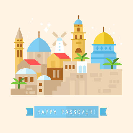 western wall: Happy Passover greeting card design with Jerusalem city skyline. Vector illustration