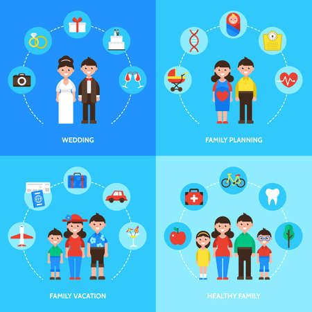 Family concept, wedding, family planning, family vacation and healthy family. Isolated vector illustration