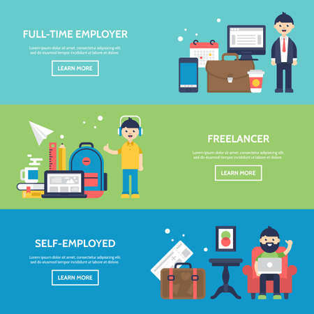 selfemployed: Freelancer, full-time employer and self-employed concept website banners. Isolated vector illustration Illustration