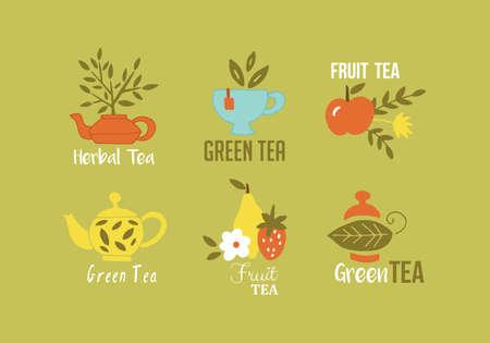 Green tea, herbal tea and fruit tea hand drawing design. Isolated vector illustration