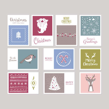 christmas candy: Christmas holiday greeting card set with hand drawing elements. Isolated vector illustration Illustration