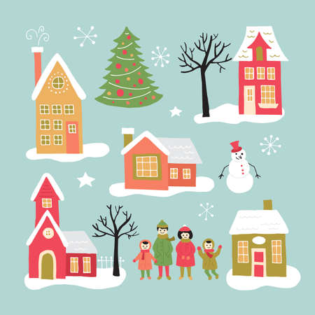 Christmas holiday hand drawing elements set for graphic and web design. Houses, village and family. Isolated vector illustration