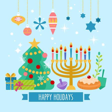 Natale e Hanukkah design di banner vacanza Vettoriali