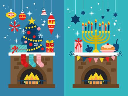 Conception de bannière de vacances de Noël et Hanukkah Banque d'images - 67046411