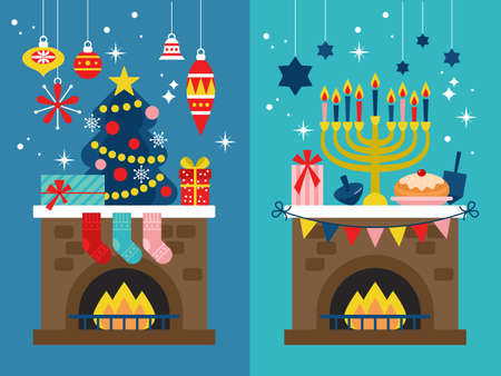 Christmas and Hanukkah holiday banner design