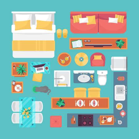 Furniture top view set for interior design. Isolated vector illustration Stock Illustratie