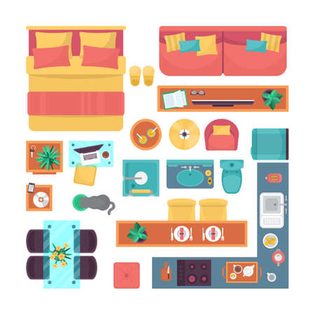 Furniture top view set for interior design. Isolated vector illustration Illustration