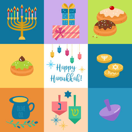 gelt: Hanukkah jewish holiday elements for graphic and web design. Isolated vector illustration