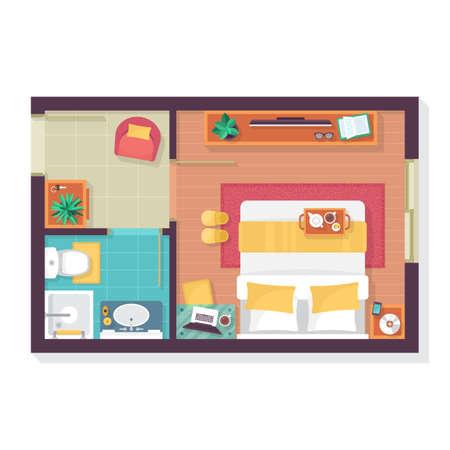 Camera da letto e pavimento del bagno pianta dall'alto. Mobili impostato per il design d'interni. Illustrazione vettoriale isolato