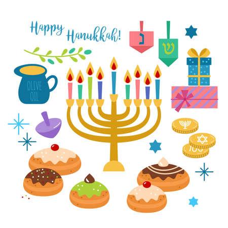 Hanukkah elementi di vacanza ebraica per la progettazione grafica e web su sfondo bianco. Illustrazione vettoriale isolato