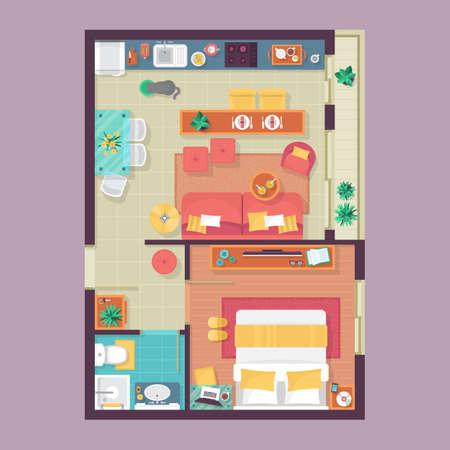 Appartamento piano piano vista dall'alto. Mobili impostato per il design d'interni. Illustrazione vettoriale isolato