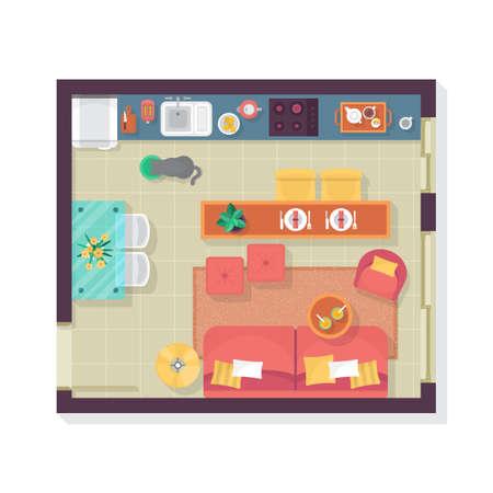 Woonkamer en keuken plattegrond bovenaanzicht. Meubilair instellen voor het interieur. Geïsoleerde vector illustratie Vector Illustratie