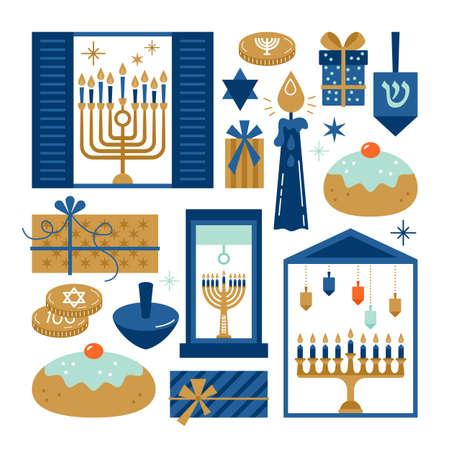 Hanukkah elementi di vacanza ebraica per la progettazione grafica e web su sfondo bianco