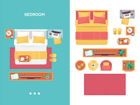 overhead view: Bedroom floor plan top view. Furniture set for interior design. Isolated vector illustration