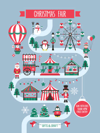 Christmas market and holiday fair poster design