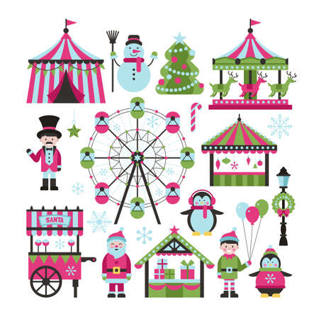 Christmas market and holiday fair elements for graphic and web design Иллюстрация