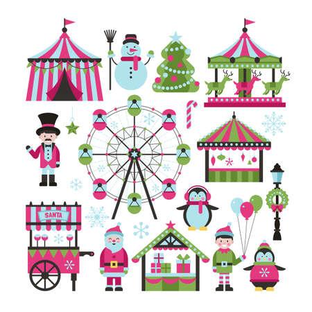 Kerstmarkt en vakantiebeurs elementen voor grafisch en webdesign