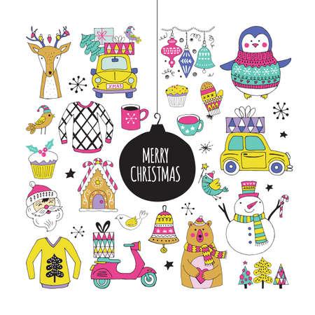 vacances de Noël éléments et des autocollants de dessin à main mignon pour la conception graphique et web