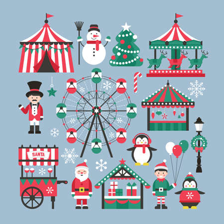 Christmas market and holiday fair elements for graphic and web design 일러스트