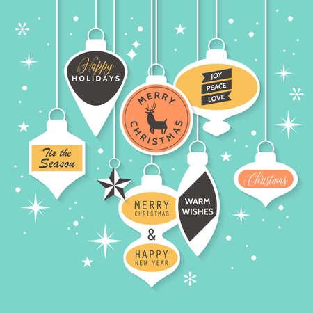 banner e adesivi modello di progettazione di Natale. Illustrazione di vettore per le promozioni di social media, newsletter e annunci Vettoriali